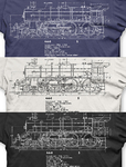 Steam loco Blueprint t-shirts